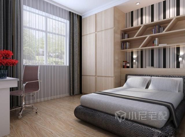 次卧室床,床头书架及衣柜巧妙设计,充分利用空间,集书房卧室为一体.